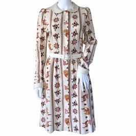 Kleid Gr. S/M Winterkleid beige Ethnomuster VINTAGE 1960s