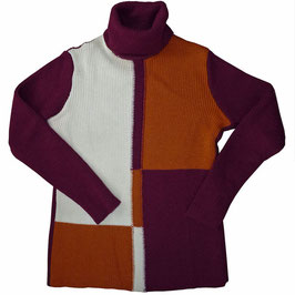 Pullover Rollkragen 60s Color Blocking Gr. S