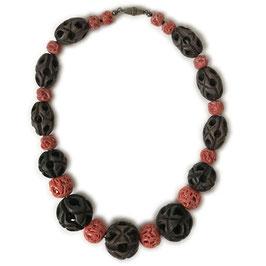 Halskette Koralle Holz VINTAGE ca. 1930s