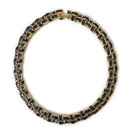 Halskette D'ORLAN emailliert schwarz-gold VINTAGE 1970s