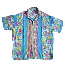 Hemd Herren Hawaiihemd aqua geblumt VINTAGE Gr. M