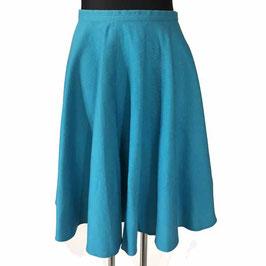 Jupe Rock Gr. L full skirt Tellerrock Tellerjupe türkis Baumwolle VINTAGE 1960s