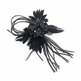Blütenschmuck mit Samt und Strass schwarz für Hüte, für Haar oder als Brosche VINTAGE 1960s
