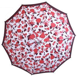 Schirm Damenschirm weiss-rot mit Früchten VINTAGE 1960s mit Futteral