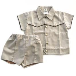Baumwoll-Sommerdress 2tlg für Buben aus Baumwollpopeline mit kurzen Hosen 1 bis 1.5 Jahre