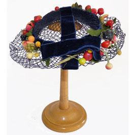 Hütchen Kopfbedeckung Haarschmuck Früchte und Beeren 50s