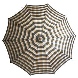 Schirm Damenschirm braun kariert Holzgriff VINTAGE 1950s