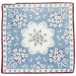 Taschentuch hellblau m. Blütenbouquets VINTAGE 1940s NEU