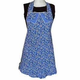 Schürze blau, weisse Blumen, weiss Paspeln 50s-Muster BW VINTAGE ca. 1950s