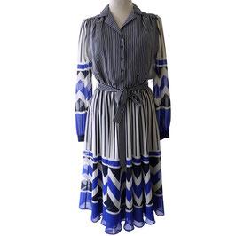 Kleid Gr. S/M VINTAGE 1970s SORA transp Chiffon blau-schwarz