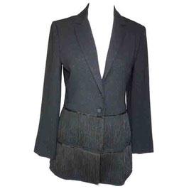 Jacke schwarz EQUIVOQUE Blazer Glitzer VINTAGE France Fransen Gr. S/M