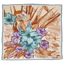 Foulard Seide VINTAGE 1990s Tucan Hibiskus 80 x 88 cm