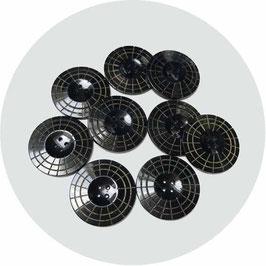 Knöpfe schwarz Bakelit 9 Stk. mit Schachbrettmuster