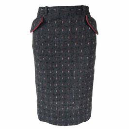 Jupe Gr. S grau Wolle Taschen mit rote VINTAGE 1940s