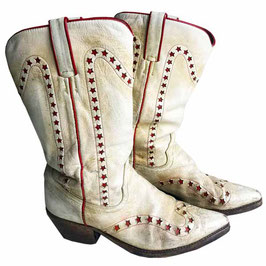 """Stiefel Cowboystiefel Gr. 38 very used """"weiss"""" rote Sterne USA VINTAGE 1990s"""