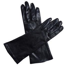Handschuhe Leder schwarz Seidenfutter VINTAGE Gr. S