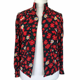 Bluse lA Gr. L/XL Seide schwarz-rot Blumenmuster vorne offen VINTAGE 1970s