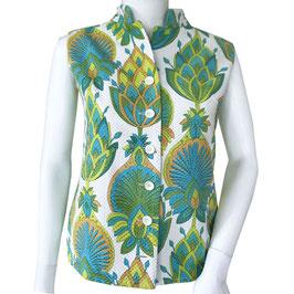 Bluse ärmellos Artischockenmuster VINTAGE 1960s Gr. S