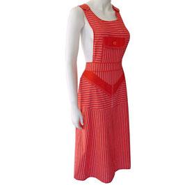 Kleid Schürzenkleid rot Streifen 1970s VINTAGE NOS Gr. S