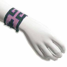 Perlenarmband breit Art Deco-Muster grün-pink