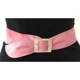 Gürtel Gr. M/L/XL Veloursleder rosa mit Perlmuttschnalle VINTAGE 1970s