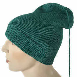 Mütze grün handgestrickt mit Pompon an langer Kordel VINTAGE 1980s