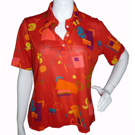 Bluse Gr. L rot kA Jersey AKRIS VINTAGE 1970s