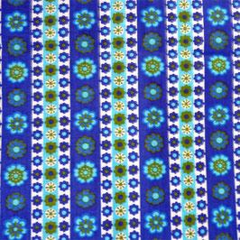 Stoff Baumwolle VINTAGE Bordüren blau türkis 2.40 m