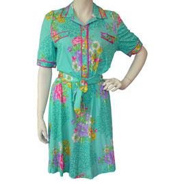 Kleid Gr. M Jersey mit buntem Muster VINTAGE 1970s
