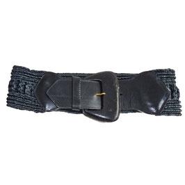 Gürtel schwarz breit Leder mit Bast 75 cm