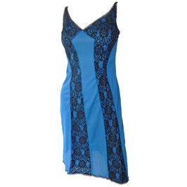 Unterrock Slipdress blau-schwarz VINTAGE Gr. S