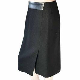 Jupe Gr. M AKRIS Pencil skirt schwarz mit Leder VINTAGE 1990s