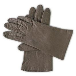 Handschuhe  Gr. S/M Leder braungrau Seidenfutter greige VINTAGE 1970s