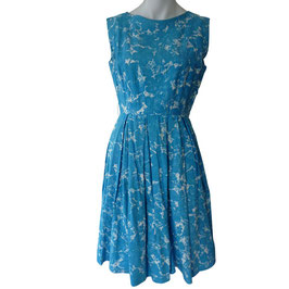 Kleid Baumwolle VINTAGE 1960s türkisblau Gr. S