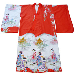 Kleid Kimono Gr. S-L rot weiss VINTAGE gefüttert Japan