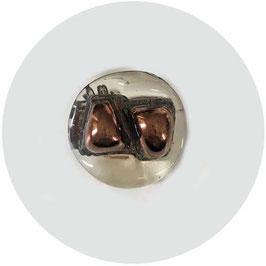 Knopf Glas transparent Mitte broncefarben Made in England