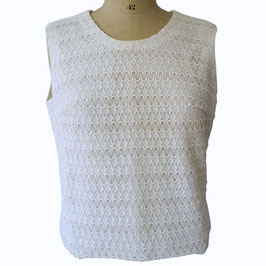 Bluse weiss Oberteil oA Couture 60s Spitzenstoff Gr. L