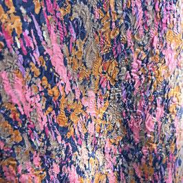Stoff Seide  2.80 m (1.15m breit) Jacquard rosa-marine-beige bedruckt, mit Paisley-Struktur VINTAGE 1950s