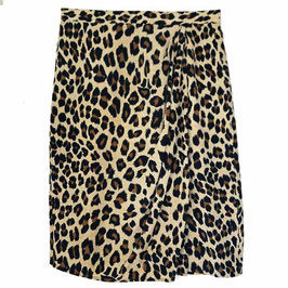 Jupe Gr. M/L ELEGANCE Leopardenmuster mit Raffung VINTAGE 1990s
