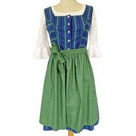 Dirndl Kleid Gr. M/L  3-teilig blau-weiss-grün Isola-Erzeugnis Österreich blau-weiss-grün VINTAGE 1970s