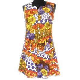 Kleid Frottéekleid Gr. 40 bunter Blumendruck VINTAGE 1970s NEU aus altem Bestand