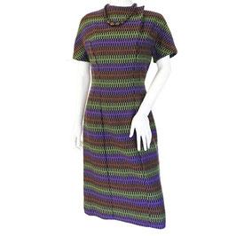 Kleid Gr. S/M kA mit Querstreifen VINTAGE Webstoff 1950s