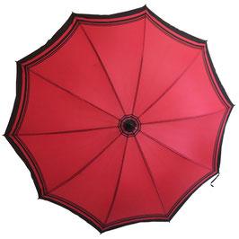 Schirm Damenschirm rot schwarze Streifen VINTAGE 1960s mit Futteral