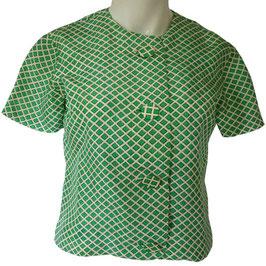 Bluse Top Gr. S grün kA VINTAGE 1960s Seide weiss grüne Rhomben