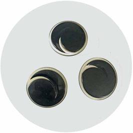 Knöpfe 3 Stk. schwarz transparent mit Spirale