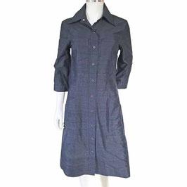Kleid Rohseide Gr. S dunkelblau Hemdblusenkleid EN SOIE ZURICH VINTAGE 1970s