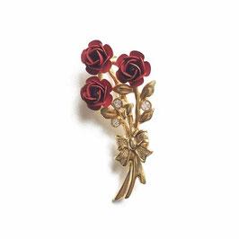Brosche 3 rote Rosen klein