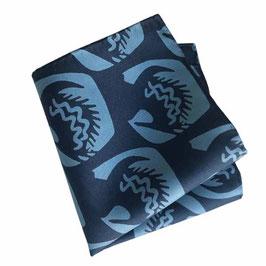 Pochette Poschettli Einstecktuch Seide blaues Muster VINTAGE
