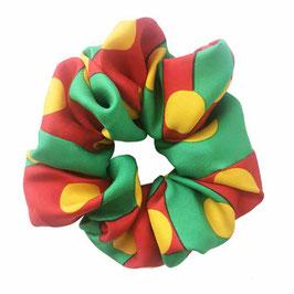Scrunchie Seide made by Silvia-K rot-grün-gelb
