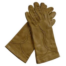 Handschuhe Gr. S Leder braun Seidenfutter caramel VINTAGE 1960s